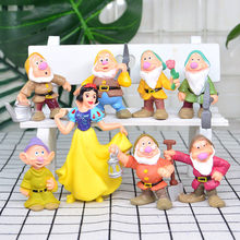 8pcs/sets Disney Snow White And The Seven Dwarfs Birthday Cake Baking Desk Decoration Statue Action Figure Toy M5097(China)