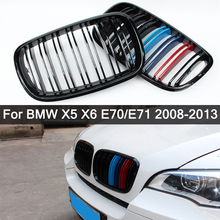 For BMW X5 X6 E70 E71 2008-2013 Glossy Black M Color Dual Slat Style Front Kidney Grille Grill Refit Hood Bumper Grills Styling 1pair gloss matte black front kidney grille for bmw new x5 g05 2019 grille car style refit bumper slat double line racing grills