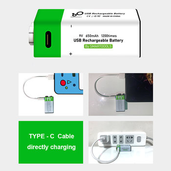9V 650mAh lithium Rechargeable battery USB charging 9 v li-ion Square battery for Toy Remote Control KTV Multimeter Microphone 5