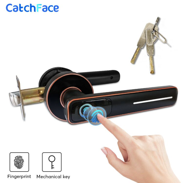 Biometric Fingerprint Door Lock Intelligent Electronic Lock For Home And Office Security With Mechanical Key