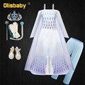 Платье принцессы Эльзы для девочек, элегантные вечерние платья Снежной королевы Анны на бретельках, одежда для девочек, лето 2020