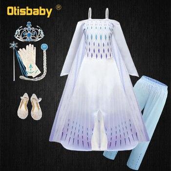 Лето 2020; Нарядное платье принцессы Эльзы для девочек; Детское элегантное платье на бретельках с изображением Снежной королевы Анны; Детская...