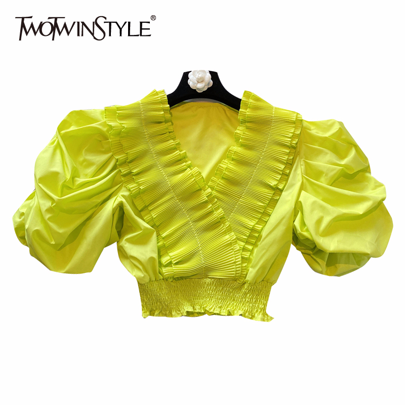 TWOTWINSTYLE Elegant Loose Women Shirt V Neck Puff Short Tunic Patchwork Ruffles Blouse For Femlae Clothing 2020 Spring Fashion