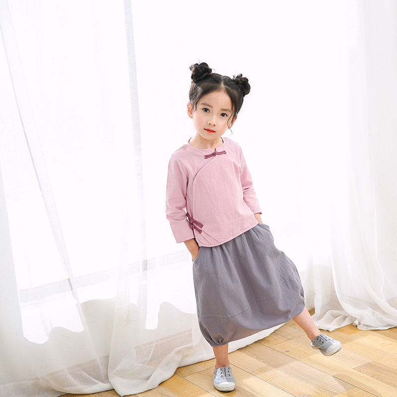 Children Chinese Costume 2017 Autumn Girls Cotton Linen Skirt Set Chinese Clothing Childrenswear Chinese-style Two-Piece Set