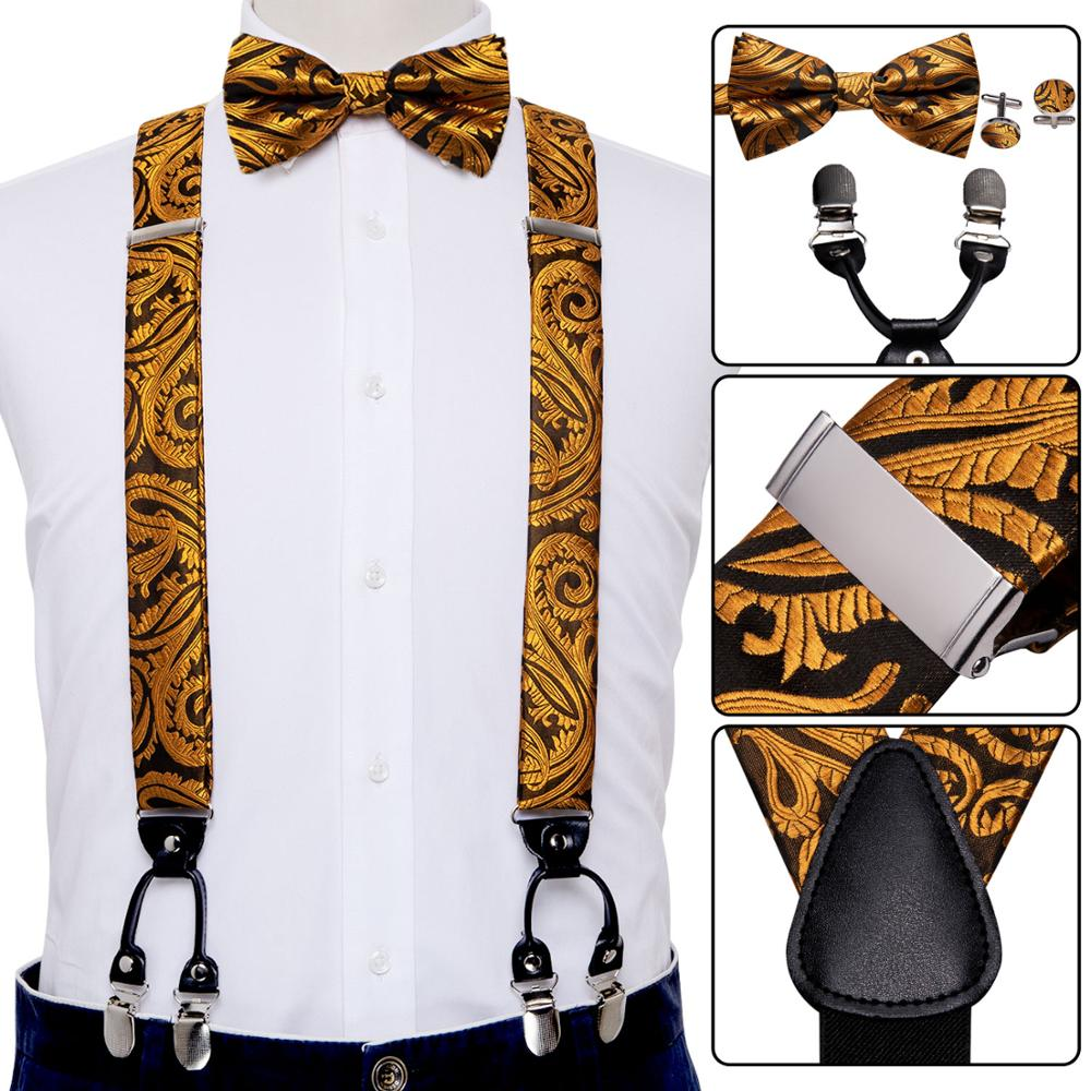 Gold Suspender For Men Silk Bows Fashion Strap Floral Bowtie Set Blue Red Green Paisley Suspender Adjustable BD-2013 Barry.Wang
