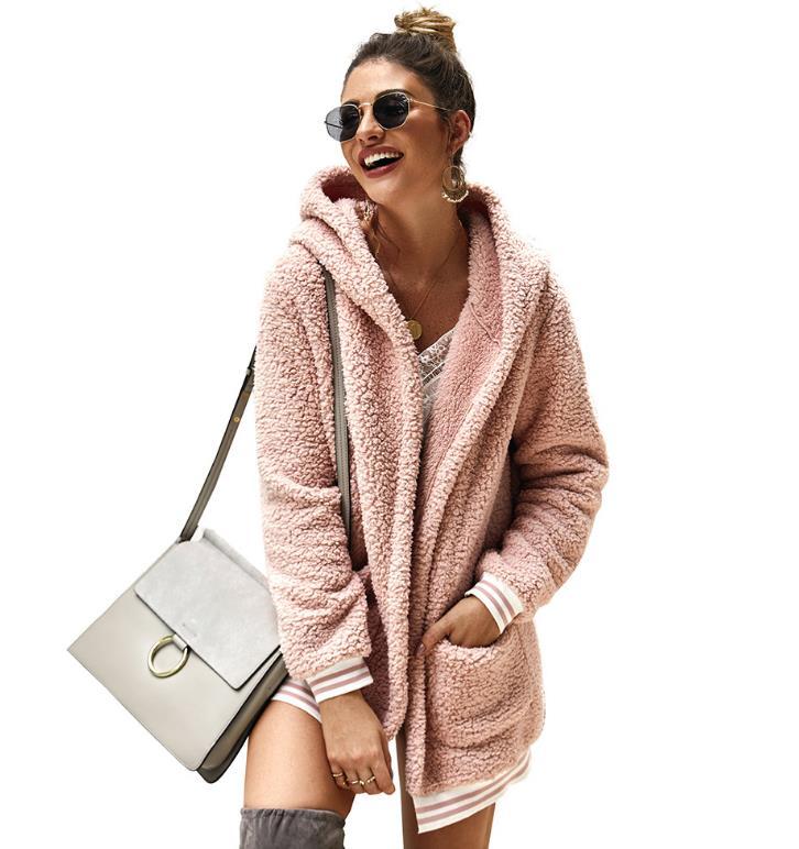 2019 New Year Spring Faux Fur Teddy Bear Coat Jacket Women Fashion Open Stitch Hooded Coat Female Long Sleeve Fuzzy Jacket Coat