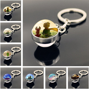 Don't Be a Boring Adult! Le Petit Prince B-612 Planet The Little Price Fox Rose Classical Fairy Tale Glass Ball Douside Keychain(China)