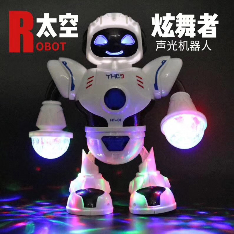 Dancing Robot Colorful Singing Rotating Space Fighter Children Electric Robot Toy Rotating Light And Sound