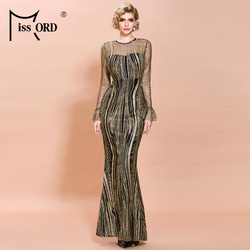 Missord 2020 женское сексуальное блестящее платье с круглым вырезом и длинным рукавом, женское элегантное облегающее Макси платье FT19866
