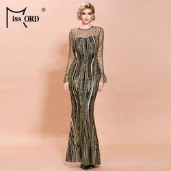 Missord 2020 Women Sexy O Neck Long Sleeve Glitter Dresses Female  Elegant Bodycon Maxi Dress FT19866