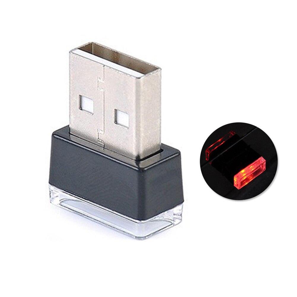 Портативный USB СВЕТОДИОДНЫЙ ночной Светильник для салона автомобиля с внешней атмосферой, декоративная лампа - Название цвета: Красный