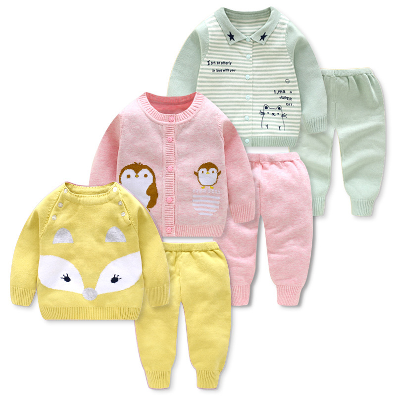 Lovely Cartoon Infant Baby Sweaters Autumn/Winter Knitted Baby Sets Cardigan Knitting Newborn Boys Girls Outfits Suits