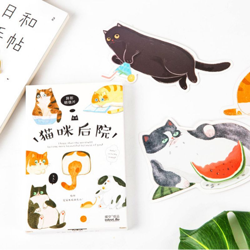 30 Pcs Hand-Painted Cat Shape Postcards Cat Backyard Cute Hand-Painted Graffiti Style Small Fresh Cute Animal Shaped Card