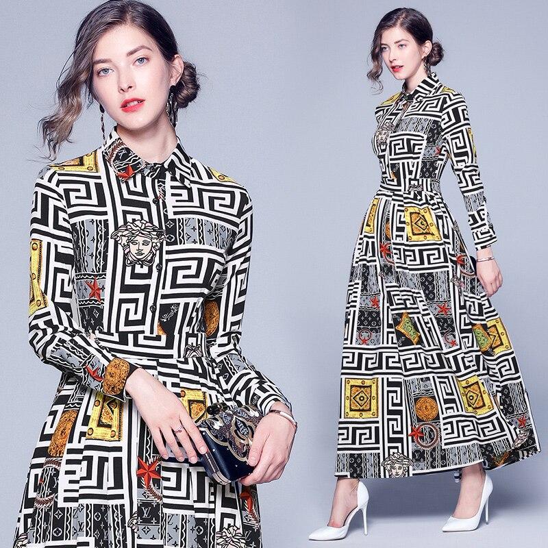 Station européenne nouvelle mode robes imprimées col rond simple rangée bouton manches longues robes