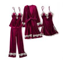 Женственная Дамская обувь велюровое кимоно пижамы наборы с v-образным вырезом сна халат, комплект из 4 предметов на бретелях Топ и штаны одежда для сна ночная рубашка Домашняя одежда, ночная рубашка