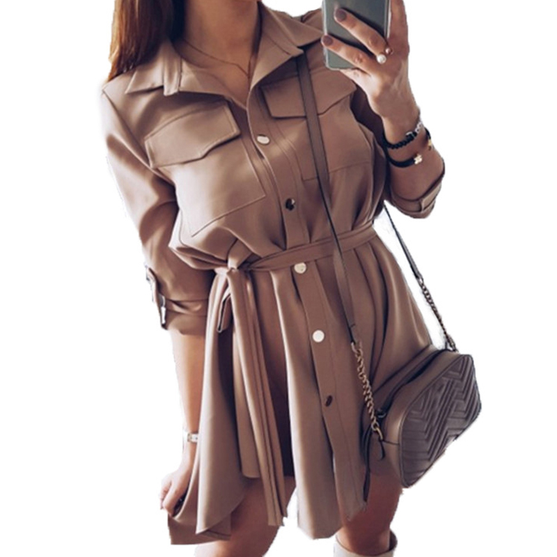 Sashes Shirts Girl Leisure Autumn Shirts Dresses Women Solid Spring Femme Casual Turn-down Collar Mini Shirt Dress GV118