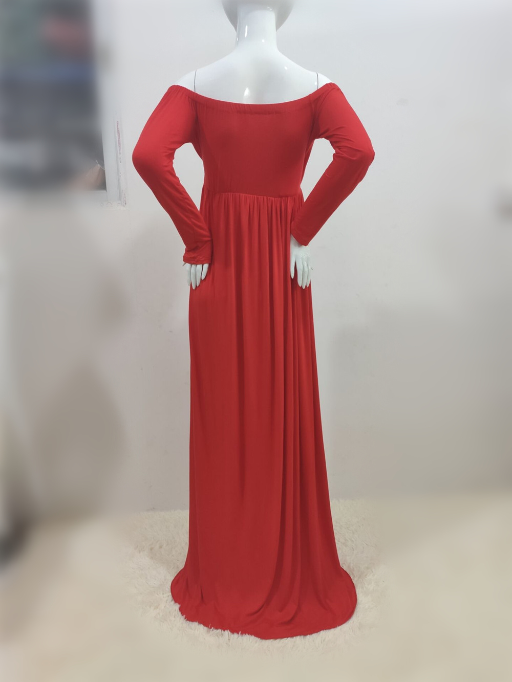 Long Shoulderless Maternity Photography Props Dresses Sexy Split Front Pregnancy Dress Photo Shoot For Pregnant Women Maxi Gown (6)