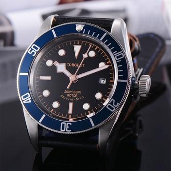 Corgeut 41mm Automatic Mechanical Mens Watch Military Black Dial Leather Strap Luminous Waterproof Sport Diver Wristwatch Men - discount item  48% OFF Men's Watches