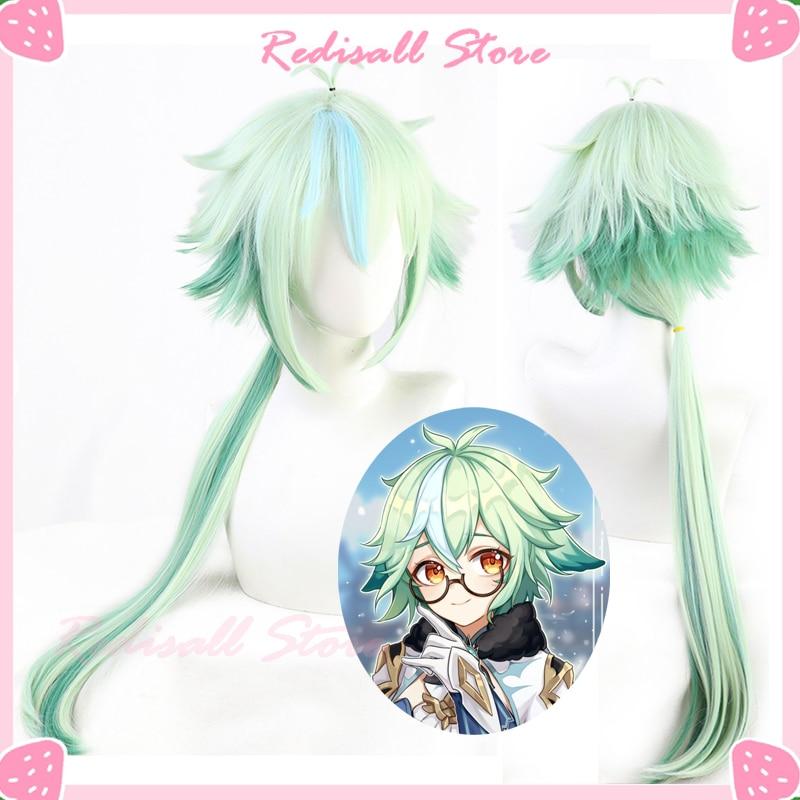 Genshin ударопрочный Косплей из сахарозы зеленые смешанные синтетические длинные прямые Термостойкие волосы для взрослых мужчин женщин мужчи...