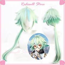 Genshin impacto sacarose cosplay verde misto sintético longo reta resistente ao calor do cabelo adulto das mulheres dos homens dia das bruxas livre peruca boné