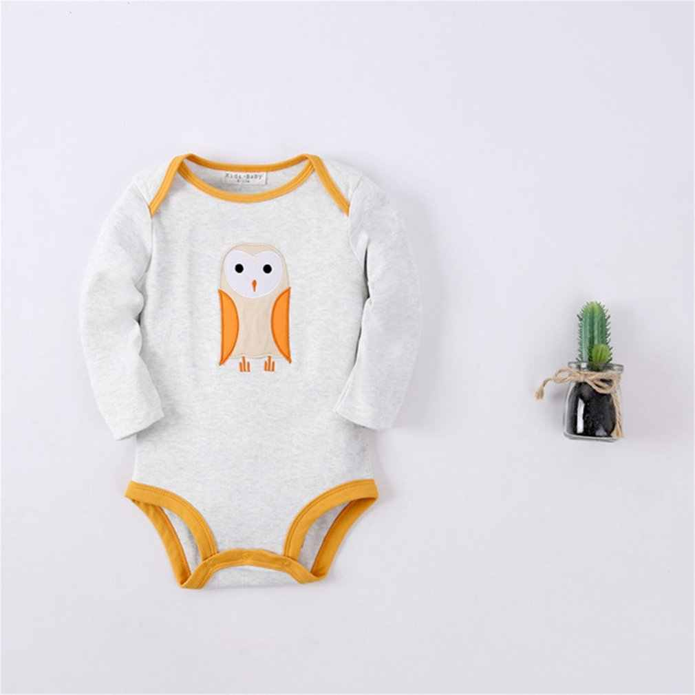 Children Long-sleeved Thickening Cotton Romper Open Crotch Playsuits with Lovely Cartoon Pattern for Boys