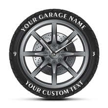 Horloge murale en acrylique pour Garage, Service de réparation de voiture, personnalisé, nom de votre Garage, roue de pneu, montre automatique, Vintage, mécanique, décor d'atelier de voiture