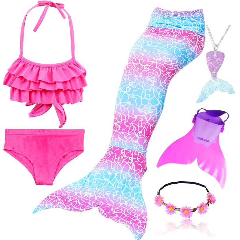 4pcs/Set Rainbow Children Mermaid Tail With Diamonds With Monofin For Girls Kids Costume Swimming Swimmable Mermaid Tail Costume