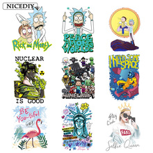 Nicediy Rick and Morty patches Heat Transfer Sticker Cartoon Iron On Transfers For Clothes Thermal Transfer Applique On Clothes все цены