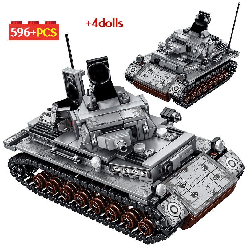 596PCS City Military Series Building Blocks For Legoing WW2 Steel Empire-German Technic Tank Soldier Figures Bricks Toys For Boy