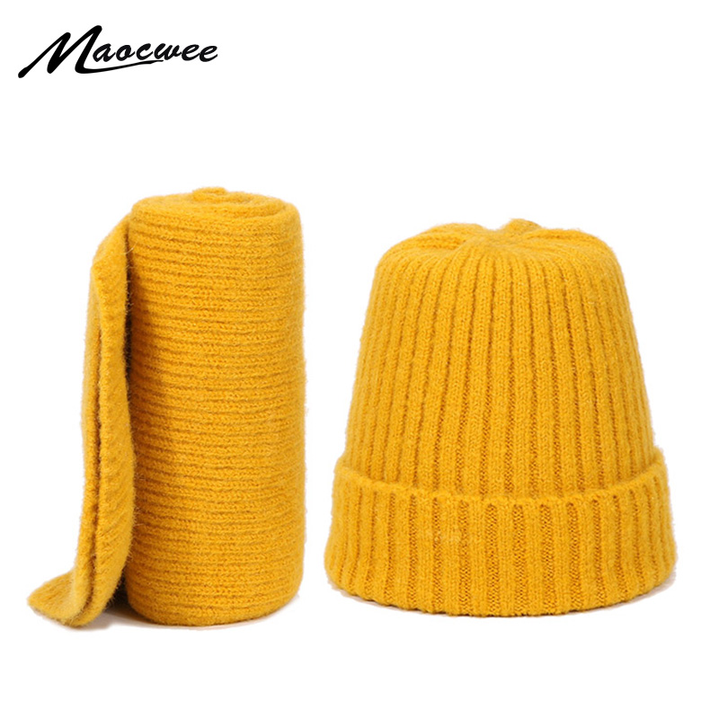 Children Scarf Hat Two Pieces Set Knitted Wool Winter Outdoor Skullie Beanie Warm Solid Girl High Quality Outdoor Hat Scarf Set