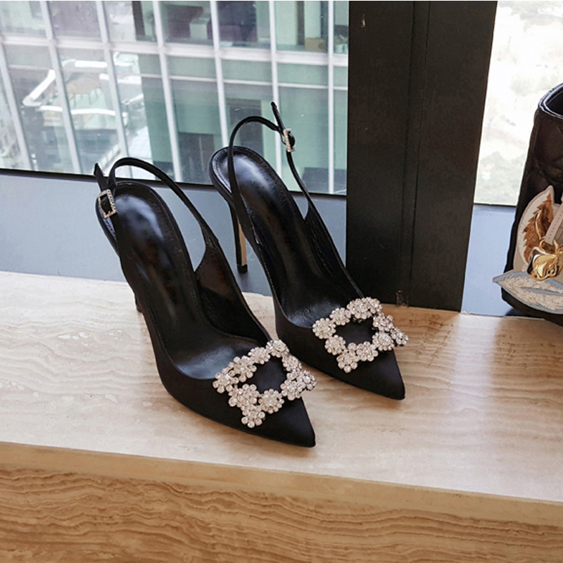 2020 new net red rhinestone black French high heeled shoes women's thin heels with sexy words after Baotou sandals female summer