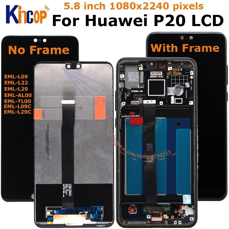 Для Huawei P20 ЖК-дисплей с сенсорным экраном дигитайзер + отпечатков пальцев с рамкой EML-L29C EML-L09C EML-L09 EML-L22 EML-L29 EML-AL00 с ЖК-дисплеем