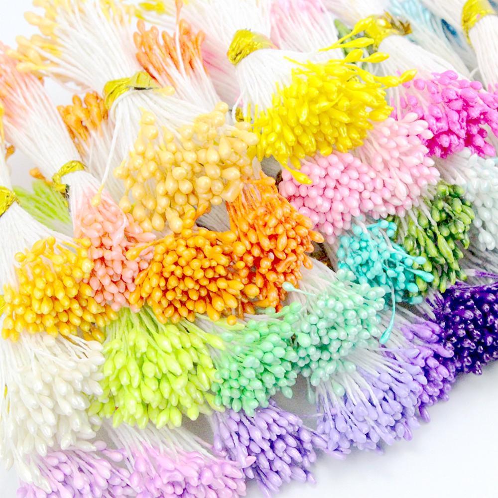 900pcs/lot Random Mixed Double Heads DIY Artificial Mini Pearl Flower Stamen Pistil 1mm Floral Stamen For Wedding Decoration DIY