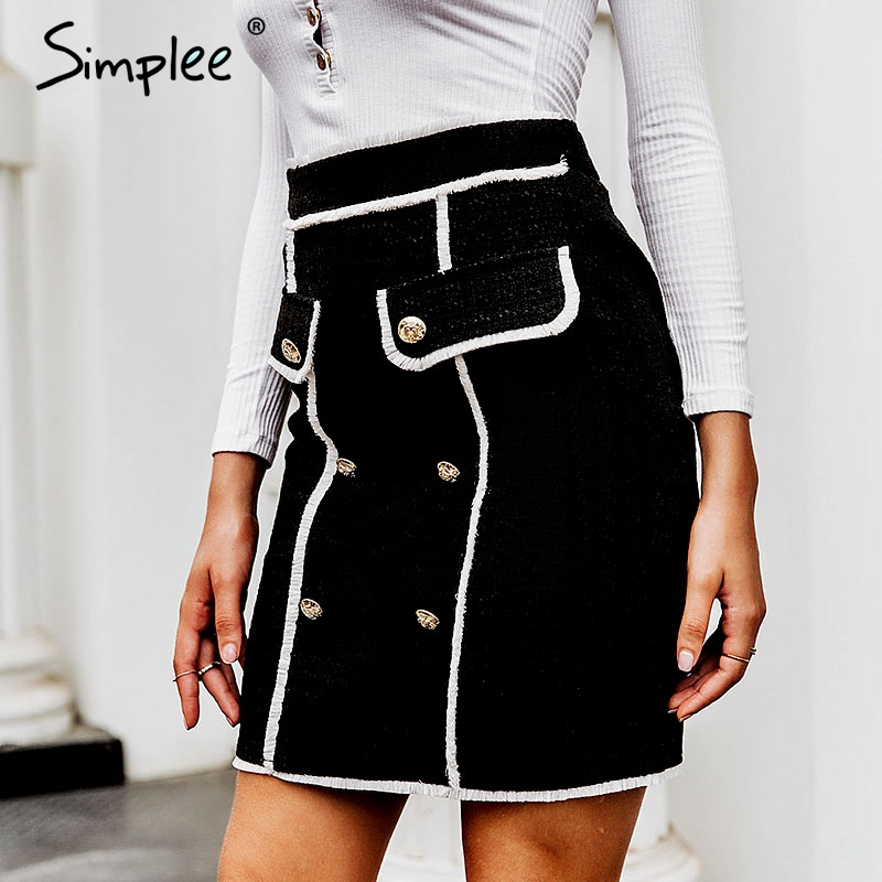 Simplee Autumn Women Tweed Skirt Vintage Stitching Double Breasted Female Short Pencil Skirts Office Ladies Zipper Mini Skirts