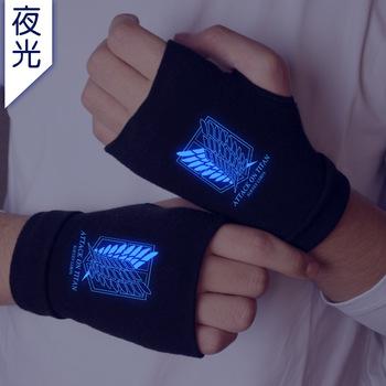 Atak na Titan Luminous rękawice dziewiarskie bawełniane ciepłe pół palca nadgarstka rękawiczki moda rekwizyty do cosplay akcesoria prezent zima tanie i dobre opinie Unisex COTTON Dla dorosłych Cartoon Nadgarstek