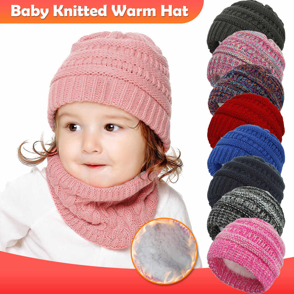 Child Kids Winter Warm Knit Beanie Cotton Hat Baby Boy Girls Crochet Earflap Cap