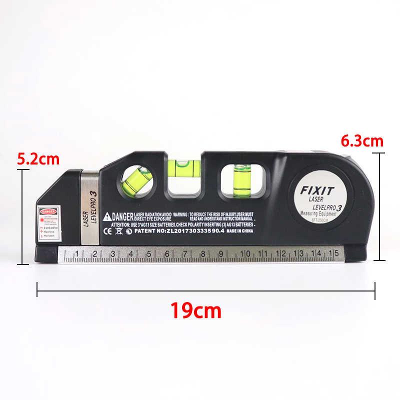 レーザーレベルホライゾン垂直メジャー 8FT フィートアライナ標準およびメトリック定規多目的測定レベルレーザー黒