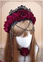 Rose Flower Pearl Bead Chain Tiaras Crowns Headband Black Vintage Lolita Style KC Easter Girls Festival Women Hair Accessories
