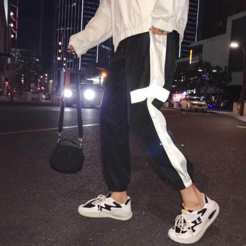 Men Reflective Side Stripe Waist Drawstring Hip Hop Beam Pants Sports Trousers