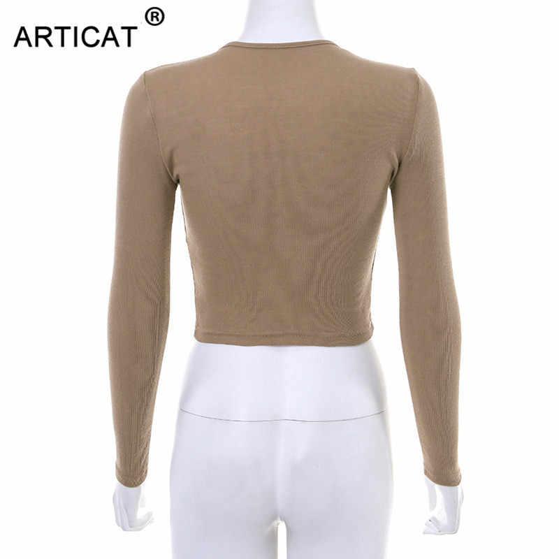 Articat 2020 秋の冬の女性のシングルブレスト Tシャツ O ネック長袖ニット固体作物トップス女性カジュアルストリート