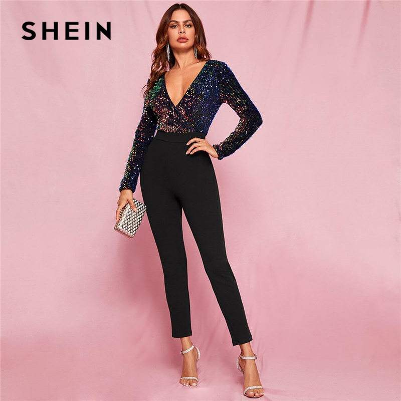 SHEIN Black Glamorous Zip Back Plunge Neck Sequin Skinny Combo Jumpsuit Women Spring Colorblock Wrap High Waist Sexy Jumpsuits