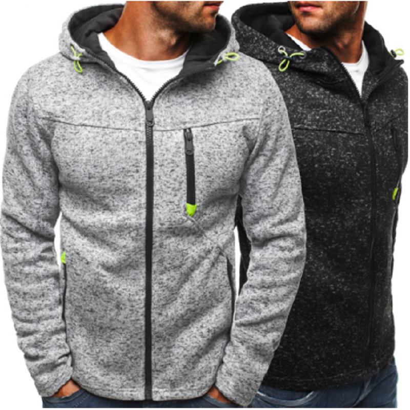 Men Sports Casual Wear Zipper  Fashion Tide Jacquard Hoodies Fleece Jacket Fall Sweatshirts Autumn Winter Coat