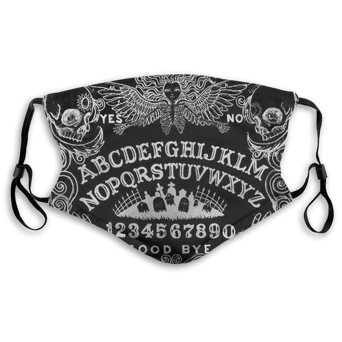 Ouija Board Black Print Mouth Masks With Filter Washable And Reusable Anti Dust Breathable Mask With Adjustable Ear Loops For