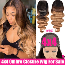 4x4 Ombre Brazilian Body Wave Closure Wig 150% Lace Front Hu