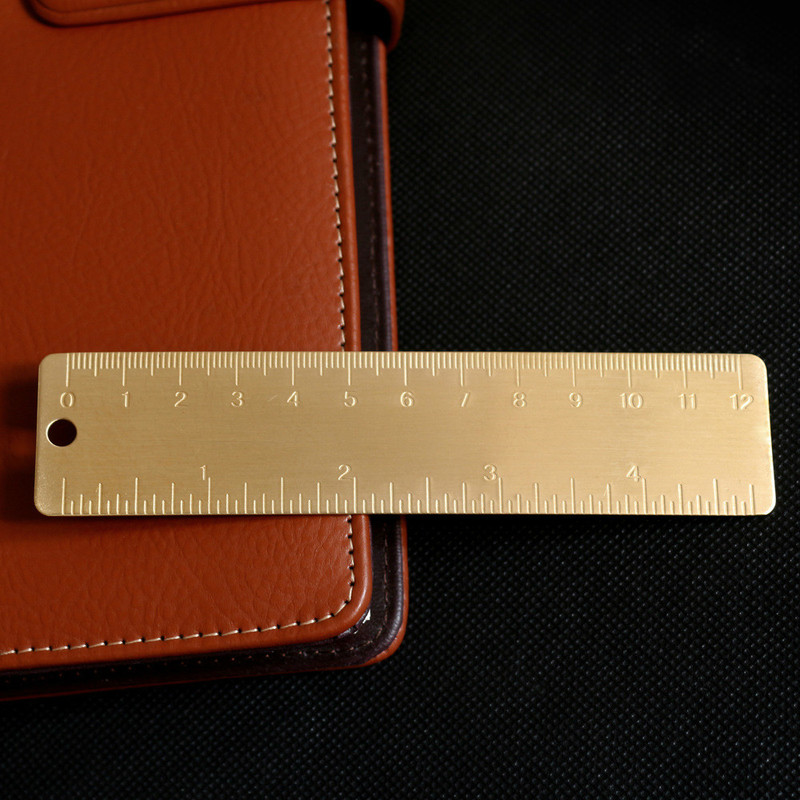 12cm Small Copper Ruler Pure Brass Products Mini EDC Tool Scale Ruler Portable Retro Bookmark Ruler