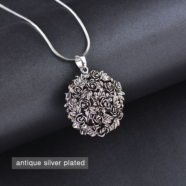 SINLEERY Unique Design Black Rose Flower Ball Pendant Long Necklace Chain Female Vintage Costume Jewelry Accessories MY100 SSB