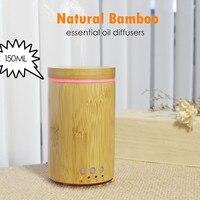 110-220 v umidificador de ar de bambu natural casa umidificador ultra-sônico clássico difusor de aroma 150ml difusor de óleo essencial umidificador