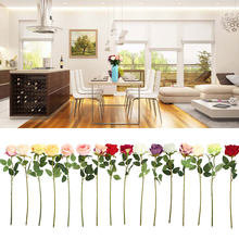 DIY Craft Household Handmade 52CM Multicolor Artificial Flowers Fake Plant Simulation Single Rose Real Touch Silk Cloth(China)