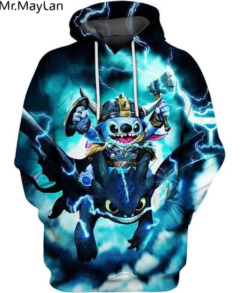 Cool Viking Stitch And Toothless Printed 3D Jacket Men's Anime Hoodies Men/Women Unisex Sweatshirt Boys Blue Streetwear Outfits
