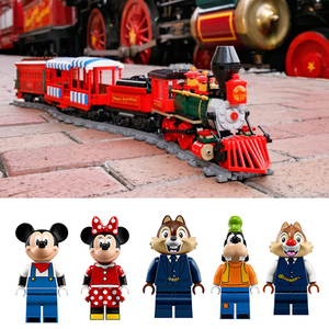 Image 5 - J11001 Disneys train and Station Building Blocks Bricks Compatible with lepingl 71044 Educational Toy for Children birthday Gift